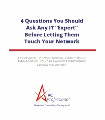 "White Rectangular Brochure Cover Image With TItle ""4 Questions You Should Ask Any IT Expert"""