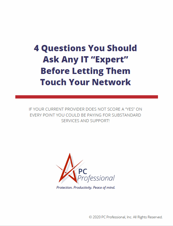 """White Rectangular Brochure Cover Image With TItle """"4 Questions You Should Ask Any IT Expert"""""""