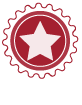 circular ribbon with star in center Icon